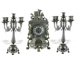 """Часы каминные """"Ангелы"""" с 2 канделябрами на 5 свечей """"Ростра"""""""