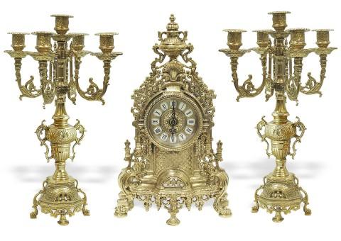 """Часы каминные """"Барокко"""" с 2 канделябрами на 5 свечей """"Барокко"""""""