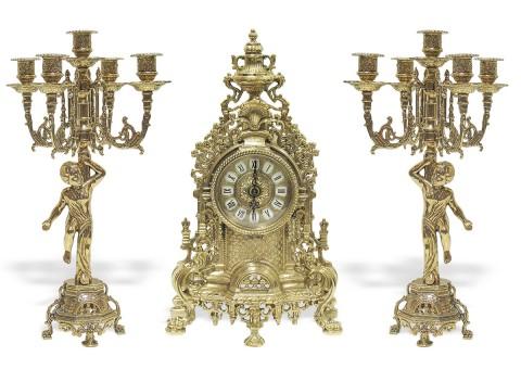 """Часы каминные """"Барокко"""" с 2 канделябрами на 5 свечей """"Купидон"""""""