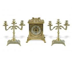 """Часы каминные """"Ларец"""" с 2 канделябрами на 3 свечи """"Венеция"""""""