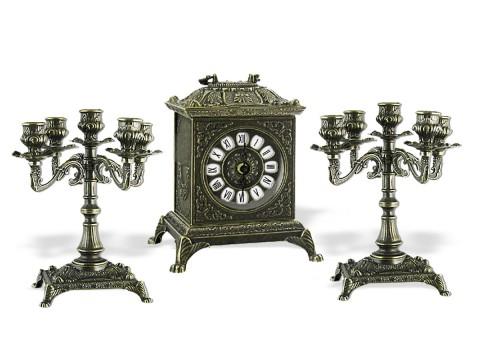 """Часы каминные """"Ларец"""" с 2 канделябрами на 5 свечей """"Венеция"""""""
