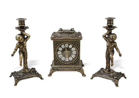 """Часы каминные """"Ларец"""" с 2 подсвечниками """"Амур"""""""