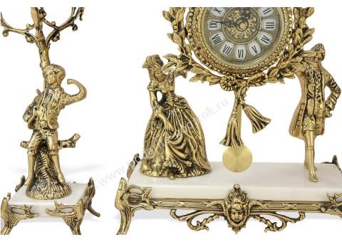 """Часы каминные """"Пастораль"""" с 2 канделябрами на 4 свечи на мраморной подставке"""