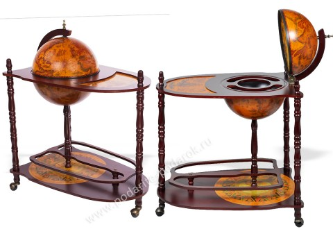 Глобус-бар напольный со столиком D 33 см коричневый