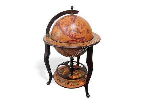 Глобус-бар напольный D 45 см коричневый стационарный