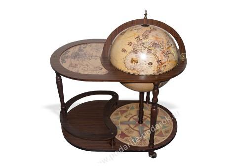 Глобус-бар напольный со столиком D 42 см белый