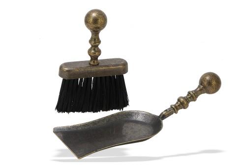 Аксессуар для каминов: плоская щетка + совок большой