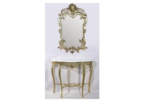 """Зеркало настенное большое """"Рендада"""" золото"""